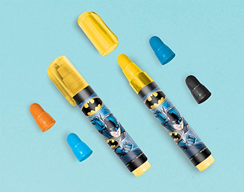Amscan Awesome Batman Assorted Stackable Eraser (1 Piece), Yellow, 3""