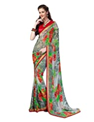 Inddus Exclusive Women Fashionable Grey Georgette Printed Saree
