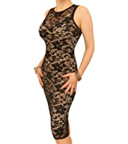 Blue Banana - Nude and Black Lace Sleeveless Dress US Size 12