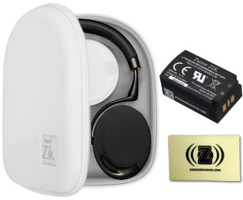 Parrot Zik Touch-Activated Bluetooth Headphones (Black/Gold) Bundle With Parrot Zik White Case, Parrot Zik Battery (3.7V - 800Mah) And Custom Designed Zorro Sounds Cleaning Cloth