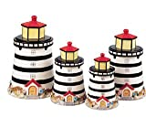 Light House Ceramic 3-D Canisters Set of 4 Jar