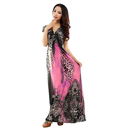 Plus Large Size Short Sleeve V Neck Leopard Print Boho Empire Waist Maxi Dress