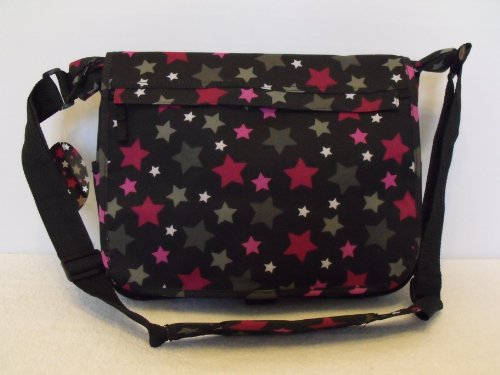 Stars design A4 folder Size Courier or sling style messenger bag Pink and Black travel cabin or hand luggage school
