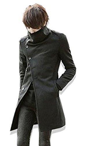 BUZZ(バズ)メンズ ロングコート メンズ コート ロングPコート トレンチコート サロン系 CO002 (ブラック,XL)