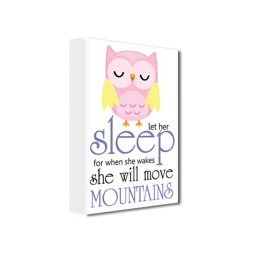 Framed Canvas Print - Owl (Girl)- Let Her Sleep For When She Wakes She Will Move Mountains (12''Width X 16'' Height) Cute Wall Art Wall Canvas Quote front-494344