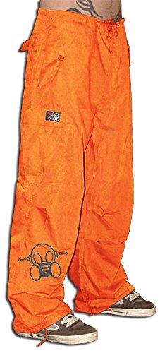 Ghast Unisex Cargo Drawstring Rave Dance Pants, Basic Orange Large