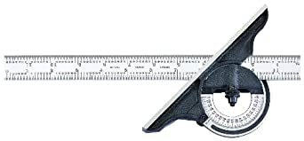 "Starrett 491-18-4R Reversible Bevel Protractor With Black Wrinkle Finish, 4R Graduations, 18"" Size"