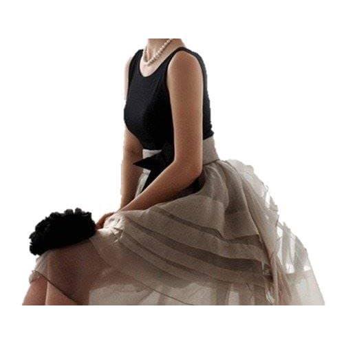(リリレナ) LiLiRena オーガンジー バックディープ Vパーティー ドレス ワンピース (L)