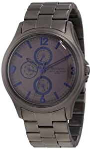Armitron Men's 20/4842GBSG Stainless Steel Black Ion-Plated Blue Accented Bracelet Watch
