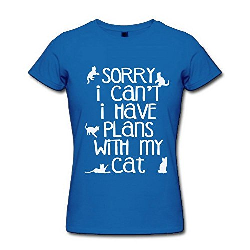 Donna's Sorry I Cant I Have Plans With My Cat Poster RoyalBlue T Shirt XX-Large
