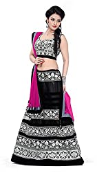 Astha Fashion Womens Velvet & Net Lehenga Choli (Astha1091 _Black Pink _Free Size)