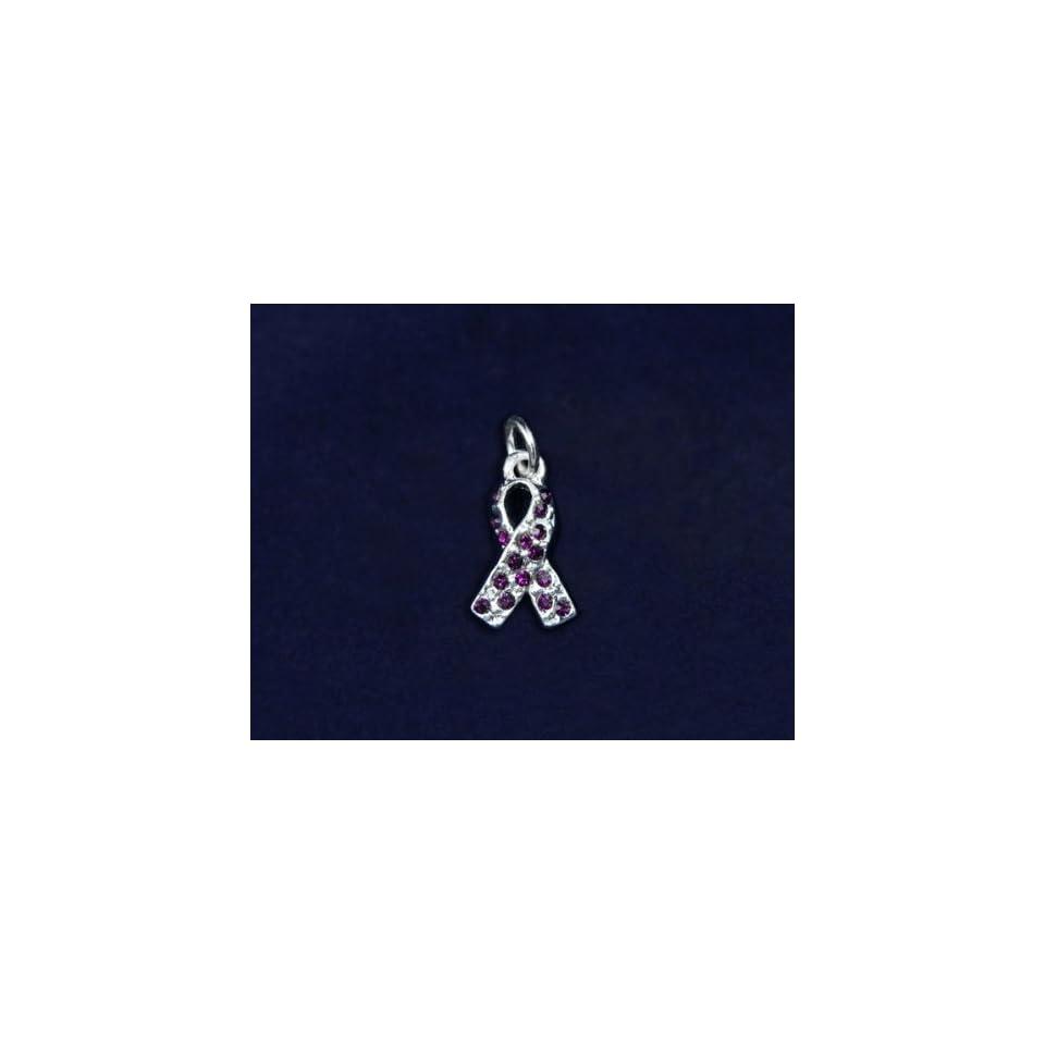 Purple Crystal Ribbon Charm   (50 Charms)