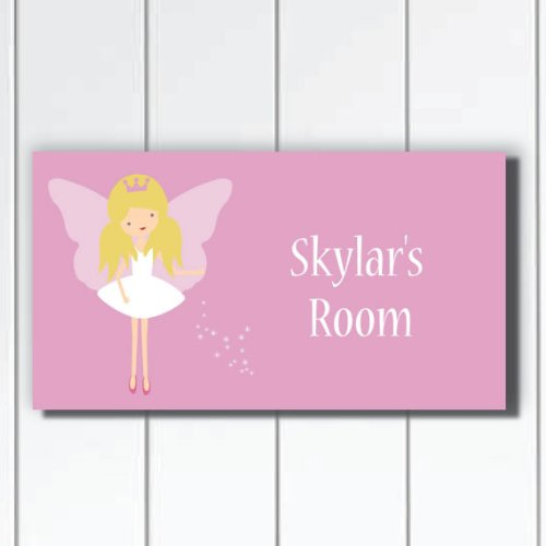 Personalized Girls Pink Door Sign, Fairy Girls Bedroom Wall Hanging, Girls Baby Nursery Wall Art (Door Signs For Kids compare prices)