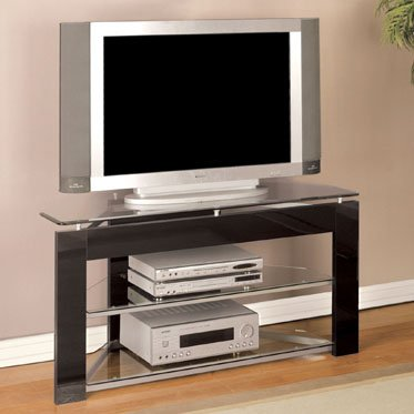 Cheap Black & Glossy Silver TV Stand – Powell 938-802B (B005LWSLOE)