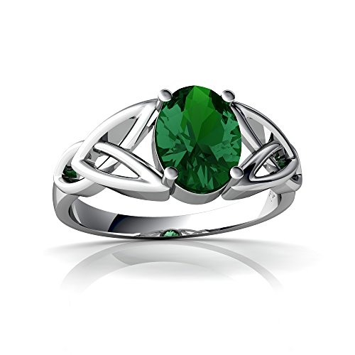 14kt-Gold-Lab-Emerald-8x6mm-Oval-Celtic-Trinity-Knot-Ring