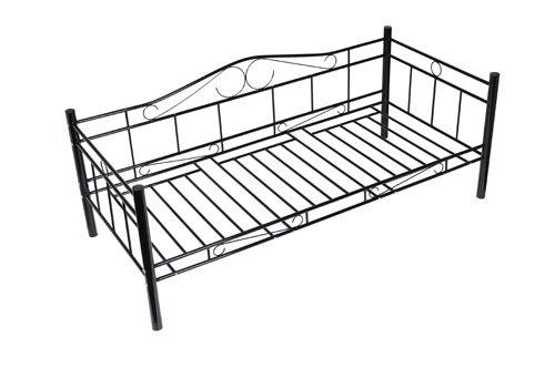 Black Single Day Bed Metal 90 X 200cm