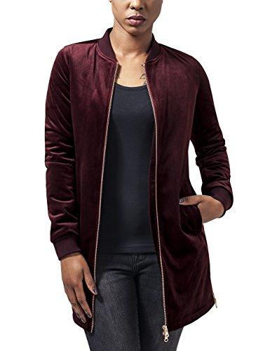 Urban Classics Ladies Long Velvet Jacket, Giacca Donna, Rot (Burgundy 606), 44