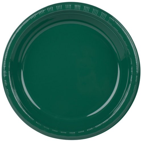 "Creative Converting 28312431 10 1/4"" Hunter Green Plastic Pl"