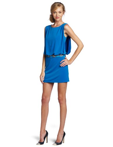 laundry BY SHELLI SEGAL Women's Blouson Mini Cocktail Dress, Blue Lagoon, 4