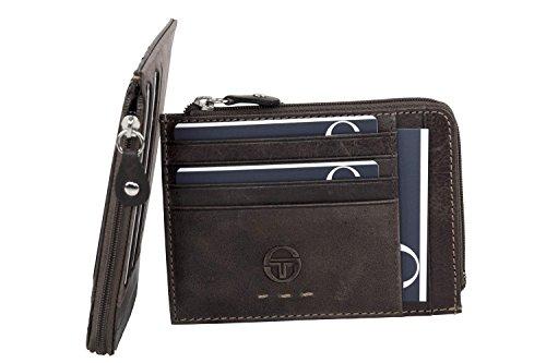 Portafoglio uomo SERGIO TACCHINI moro in pelle tasca porta carte con zip A5239