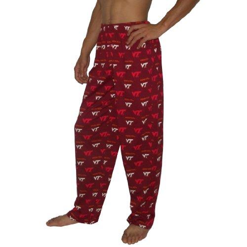 Mens NCAA Virginia Tech Hokies Winter Cotton Sleepwear / Pajama Pants - Red & White
