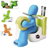 Butt Station Tape Dispenser, Pen & Memo Holder, Paper Clip Storage, Green by Minya (English Manual)