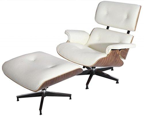 eMod - Eames Lounge Chair & Ottoman Plywood White Aniline Leather Walnut Wood Veneer