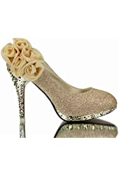 WeenFashion Women's Shiny Pumps with Flowers Floriation