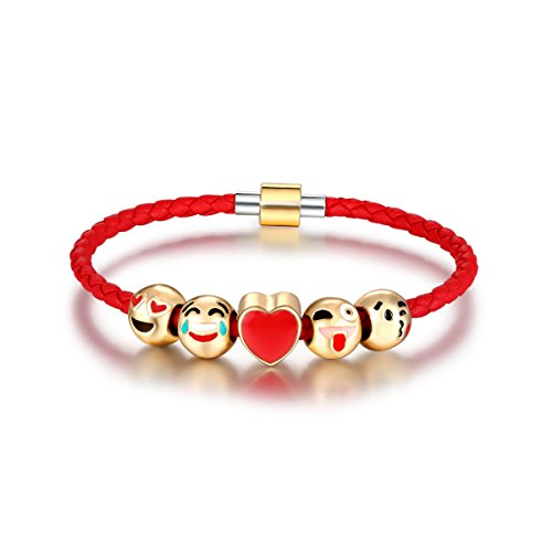 Eccosa Fashion 18K Gold Plated Animals Emoji Faces Charms Bracelets with Lucky Red Leather Rope for Girls