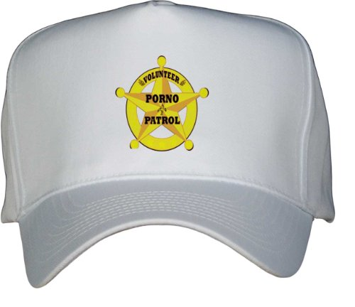 VOLUNTEER PORNO PATROL White Hat / Baseball Cap