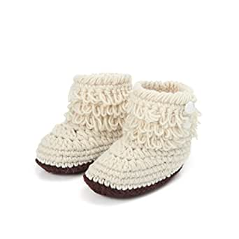 Sandistore Baby Girls Crochet Handmade Knit High-top Tall Boots Shoes