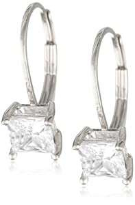 Platinum-Plated Sterling Silver Princess-Cut Cubic Zirconia Earrings (1 cttw)