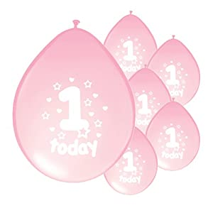 10 x 1ST BIRTHDAY GIRL/ AGE 1 GIRL BABY PINK BIRTHDAY BALLOONS (PA)