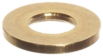 "Brass Flat Washer, #2 Hole Size, 0.0890"" ID, 0.0280"" Nominal Thickness (Pack of 100)"