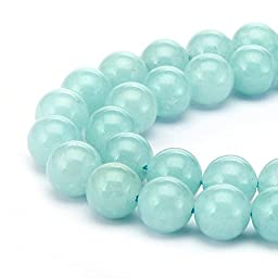 BRCbeads Crystal Natural Gemstone Loose Beads Round 6mm Crystal Energy Stone Healing Power for Jewelry Making- Aquamarine Blue Color