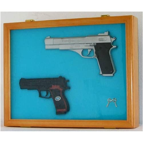 Airsoft Gun / Handgun display case shadow box, Lockable glass door-OAK