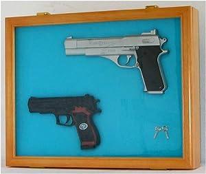 Pistol Airsoft Gun Handgun display case shadow box, Lockable glass door-OAK by NULL