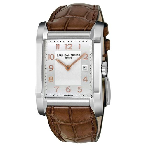 Baume & Mercier Men's 10018 Silver Dial Brown Leather Strap Watch