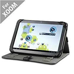 Acase MOTOROLA XOOM Leather Flip Book Jacket/folio for for MOTOROLA XOOM 32GB, WiFi and WiFi +3G & 4G - Xoom Case Google Android 3.0 Honeycomb(Black)
