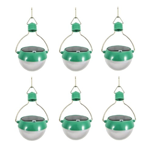 Solar Powered Hanging Optical Led Lamp Light Bulb - Green Pack Of 6