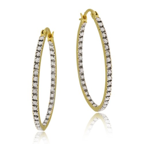 18k Yellow Gold Plated Sterling Silver Diamond-Accent Oval Hoop Earrings (0.9