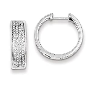 Sterling Silver Diamond Round Hinged Hoop Earrings