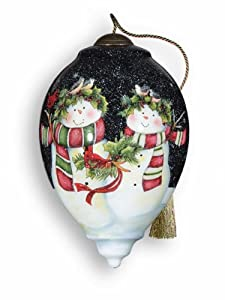 Ne'Qwa Art Snow Happy Together - New for 2012 - Glass Ornament Hand-Painted Reverse Painting Distinctive 755-NEQ