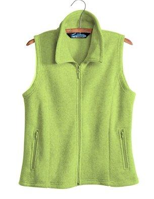 Premium Quality Ladies 100% Spun Polyester Crescent Micro Fleece Vest - Pear, Ladies Extra Small