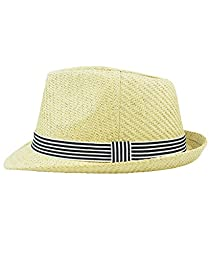 RuggedButts® Infant / Toddler Boys Fedora - Natural/Blue - 12-24m (M)