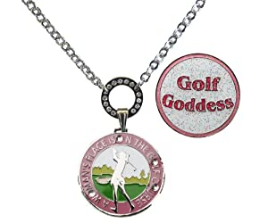 Buy Magnetic Ball Marker Necklace with A Woman's Place Is on the Golf Course Accented with Genuine... by Navika