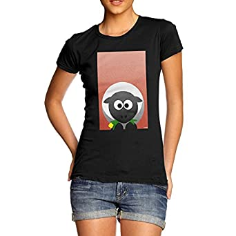 Amazon.com: Women Cute Novelty Design Cute Sheep Eating Print T-Shirt