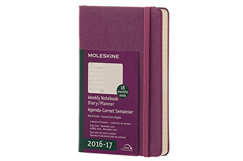 Moleskine 2016-2017 Weekly Notebook, 18M, Pocket, Grape Violet, Hard Cover (3.5 x 5.5)