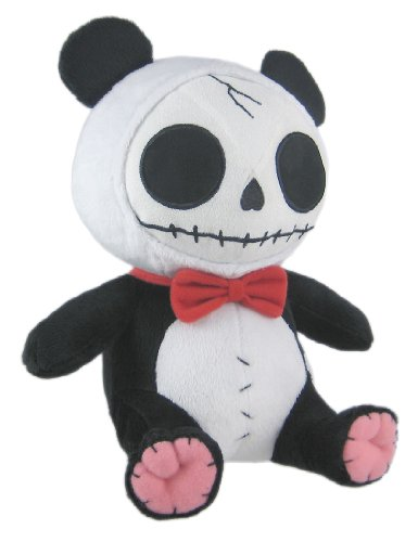 Furry Bones Black Plush Panda Bear - 12 Inch Stuffed Skull