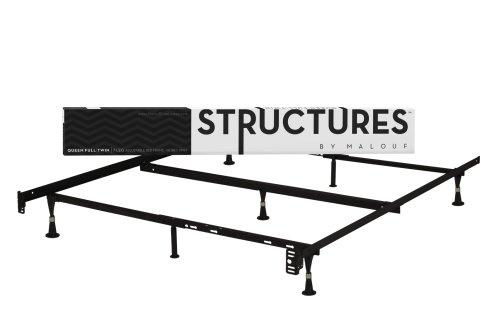 STRUCTURES by Malouf Heavy Duty 7-Leg LINENSPA Adjustable Metal Bed Frame with Center Support and Glides Only – (Queen, Full XL, Full, Twin XL, Twin)